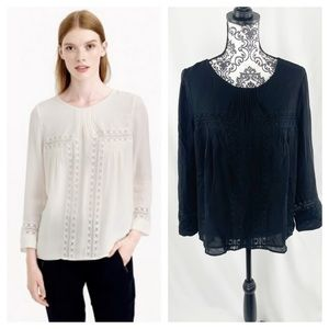 J Crew Silk Lace Cut Out Peasant Top